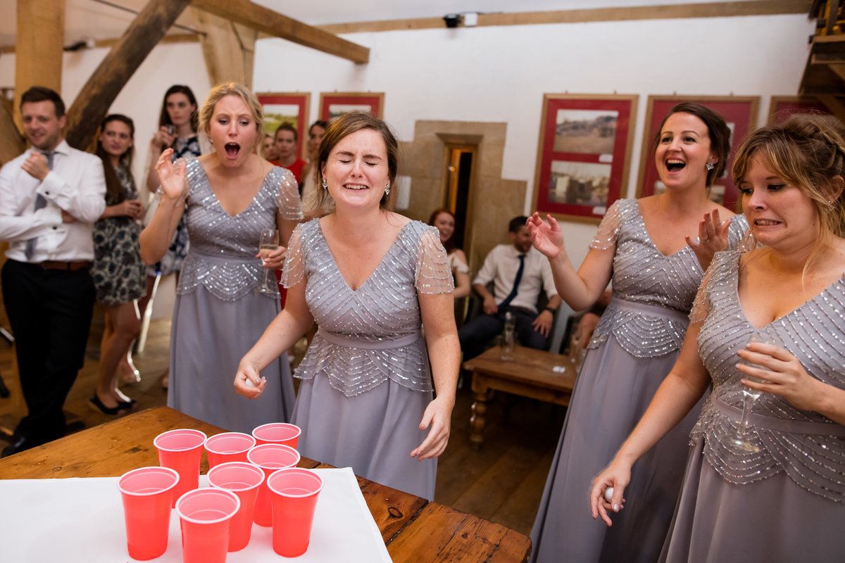 bridesmaids playing beer pong haselbury mill