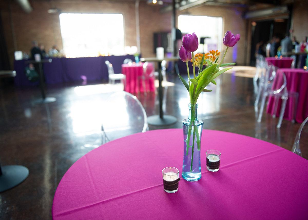 Flowers set for guest table at Chicago fundraiser.