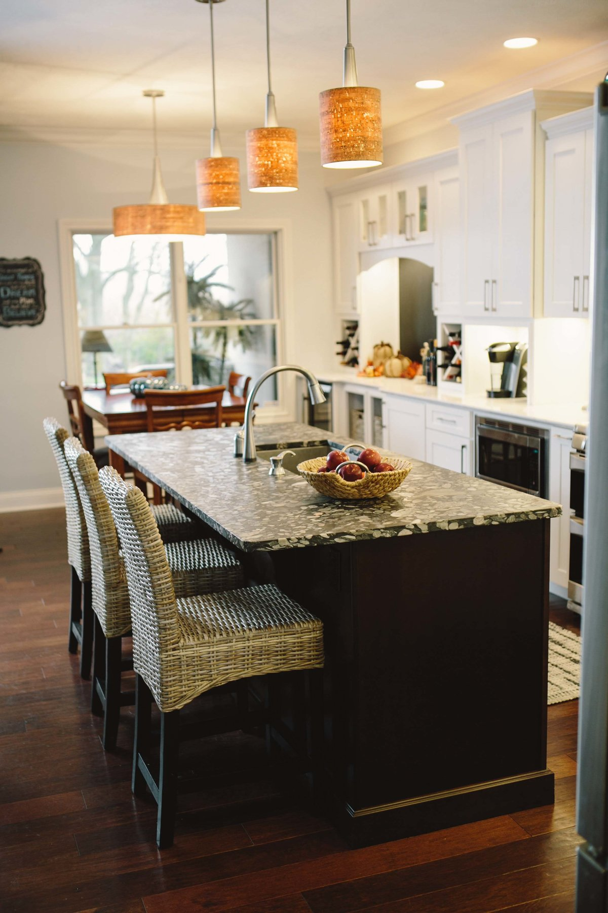 an island in a kitchen in Indianapolis designed by great kitchens and baths