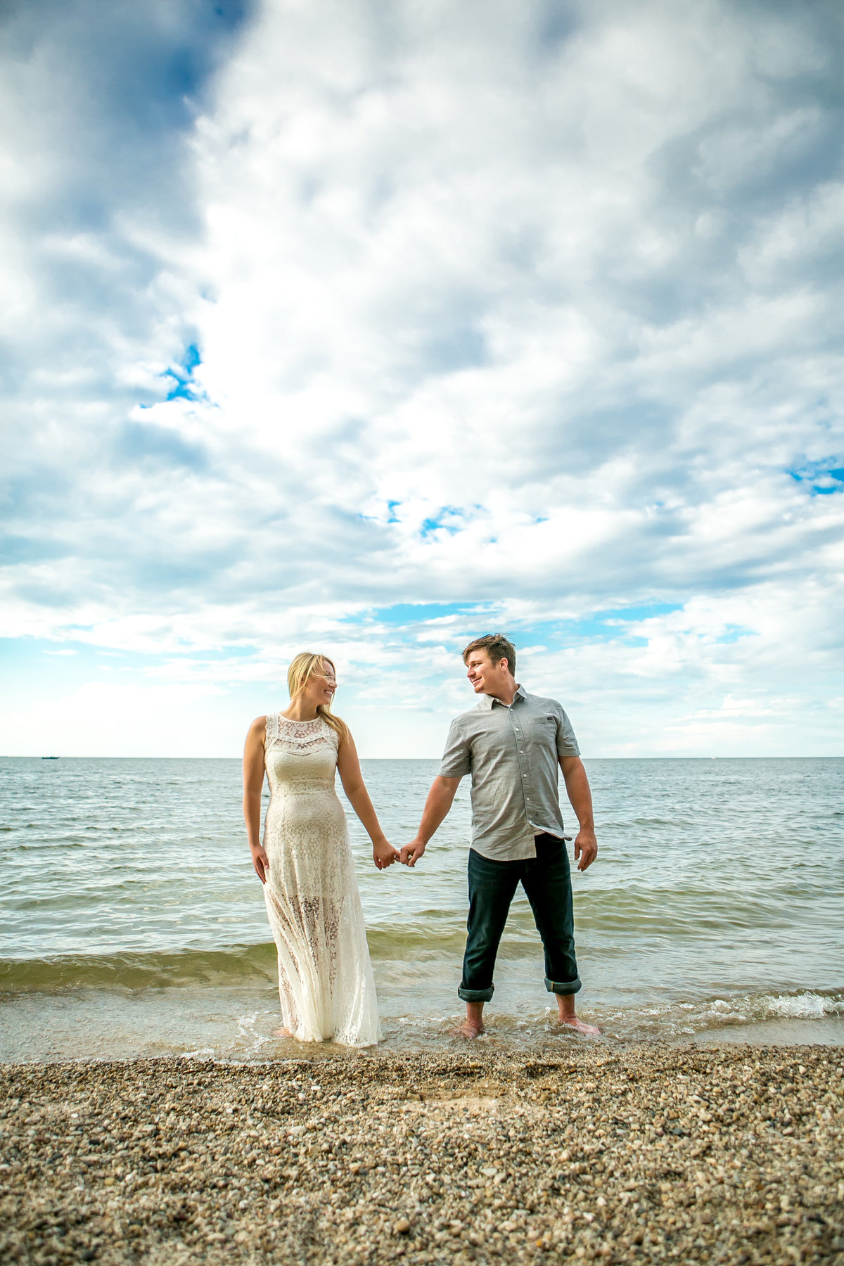 Brandon & Andrea's Wisconsin Beach Sunset Engagement Session Photos by Amenson Studio-0044