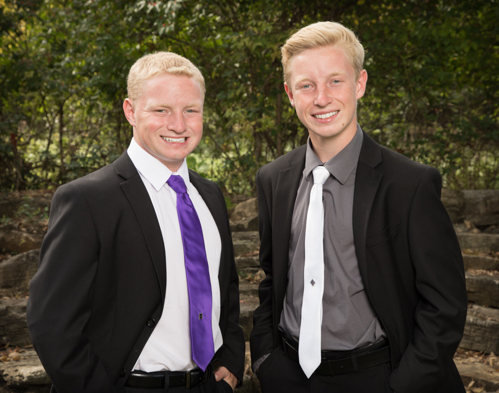 Two High School Senior Boys Posing for Pictures