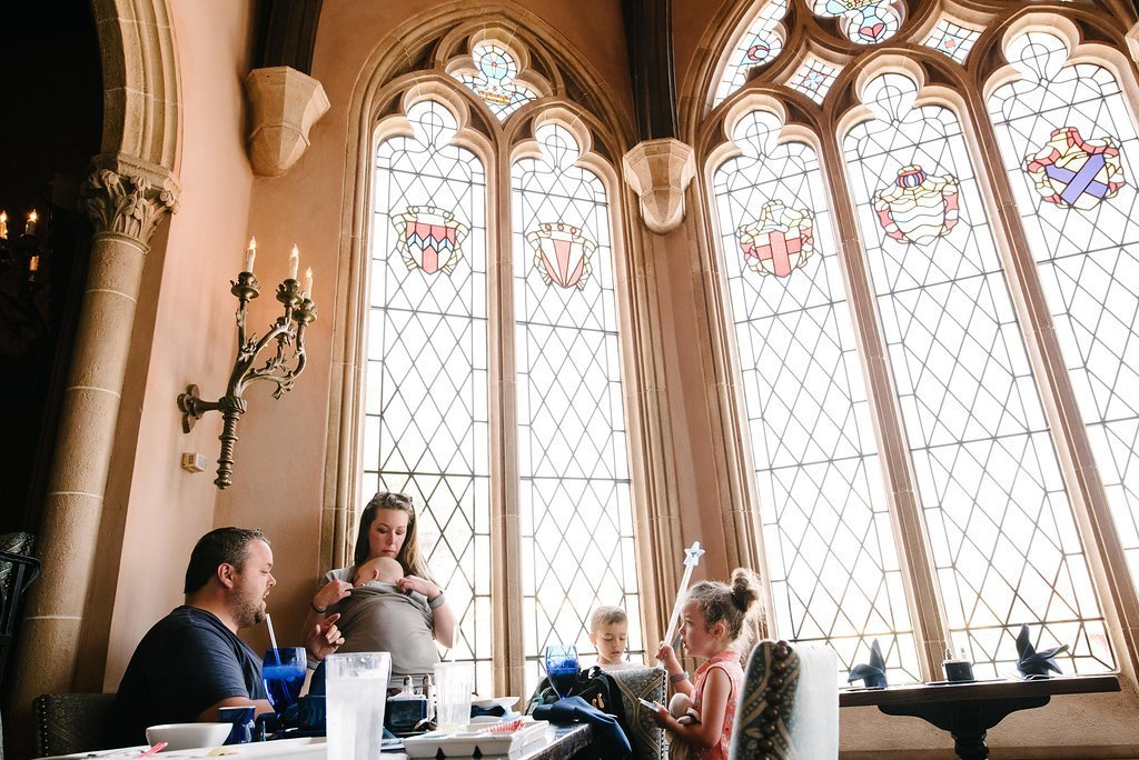 Family of five dinner at disney's cinderella castle