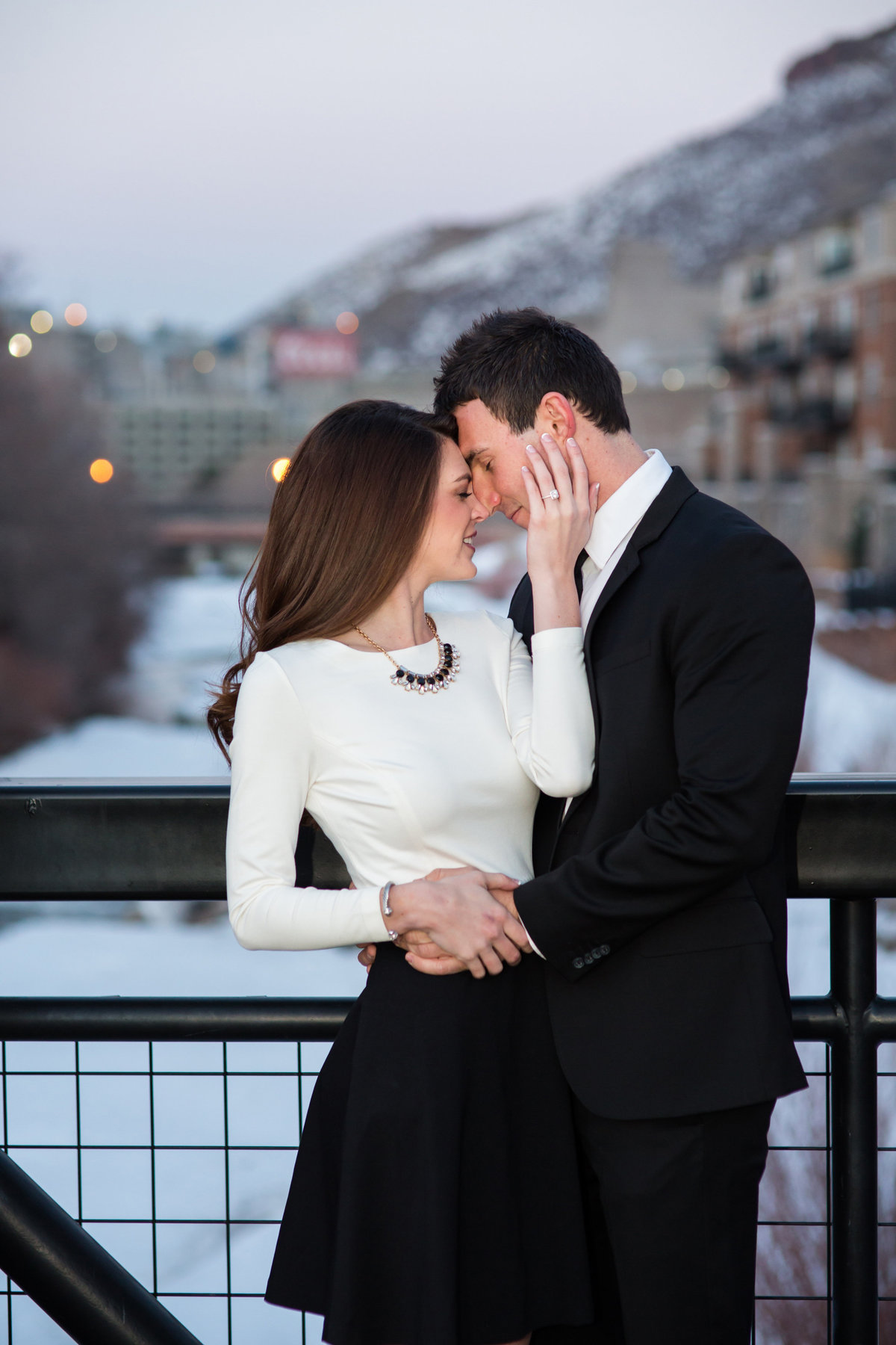 engaged couple in Golden by Coors Brewery