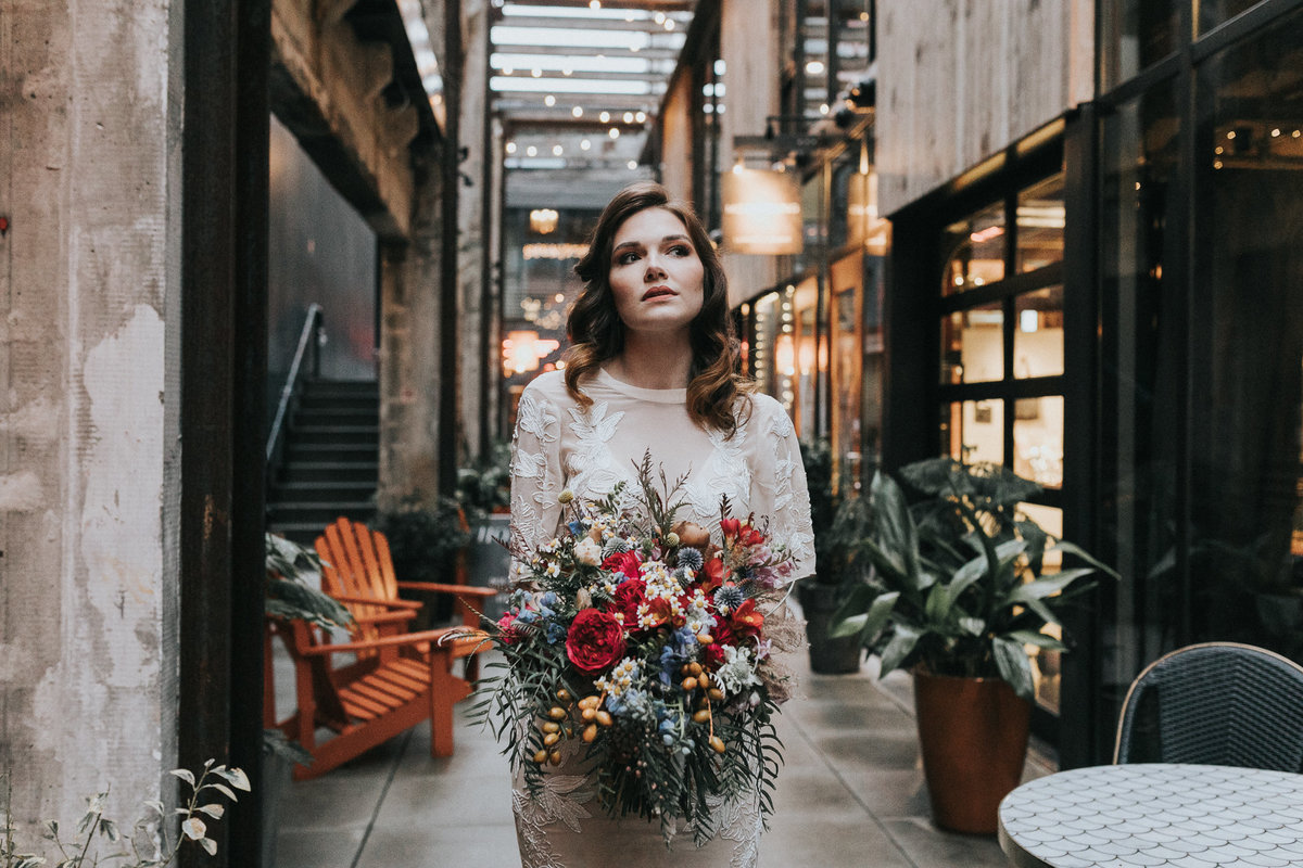 Downtown bridal portrait session in Seattle Washington.