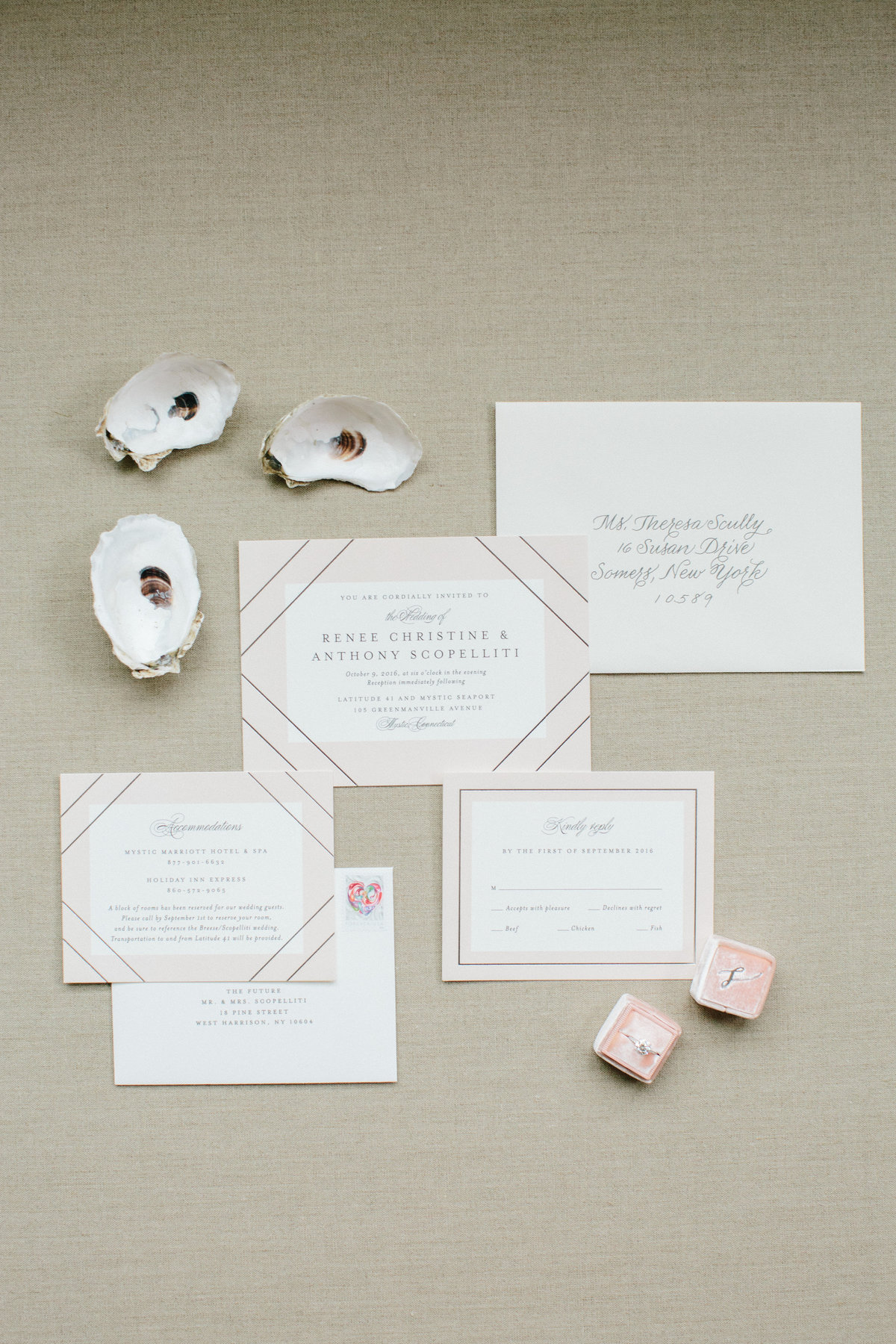 cape cod wedding invitation suite
