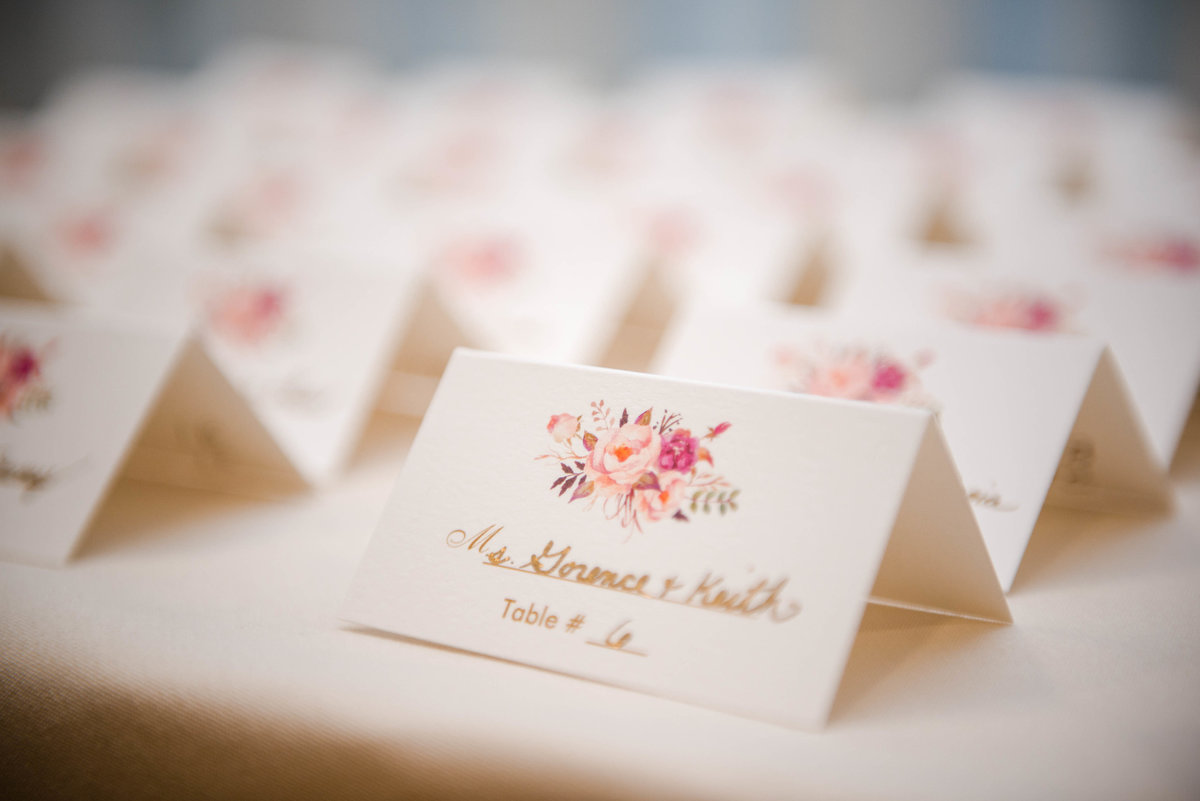 19 Floral place cards for waters edge wedding