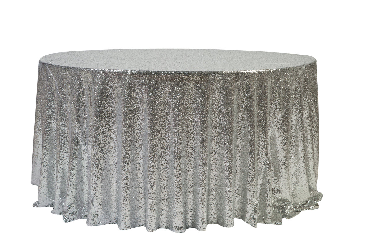 132'' Rd Silver Sequin Tablecloth
