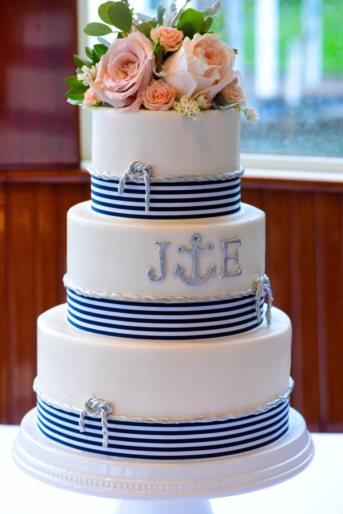The Sagamore Hotel, Bolton Landing, NY, 3-tiered Nautical wedding cake, fresh flower cake topper, Renaissance Florals, Albany, NY