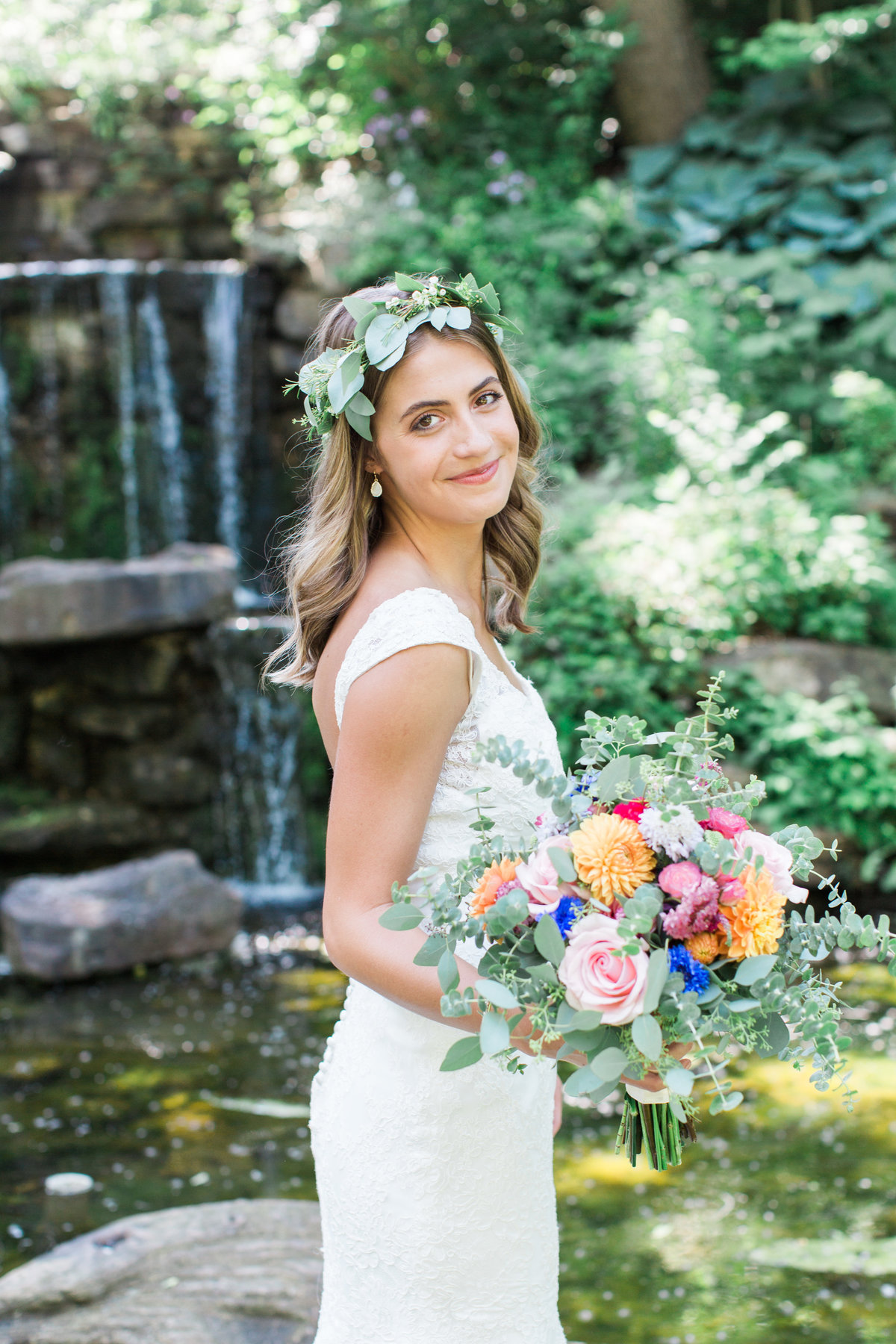 Charley Creek Gardens Wedding Bride with Flower Crown  Photo