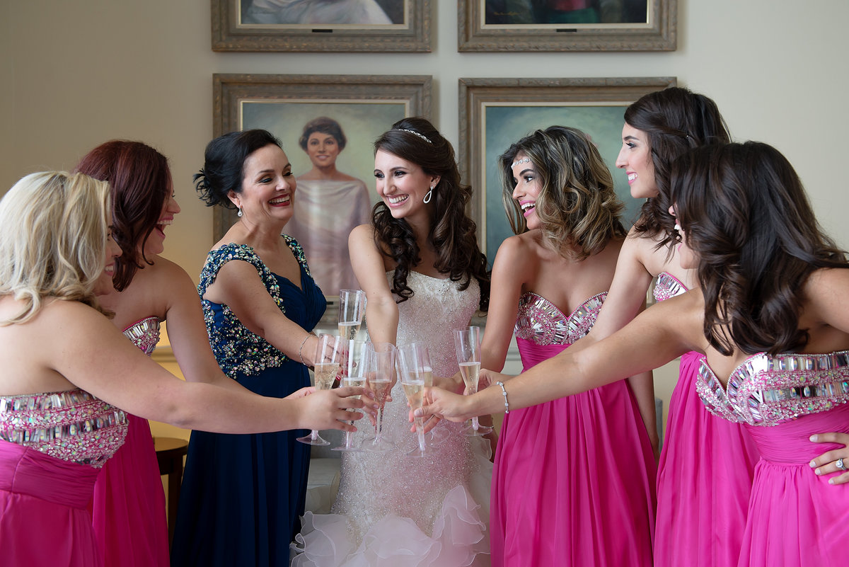 Bride and Bridesmaids Cheering