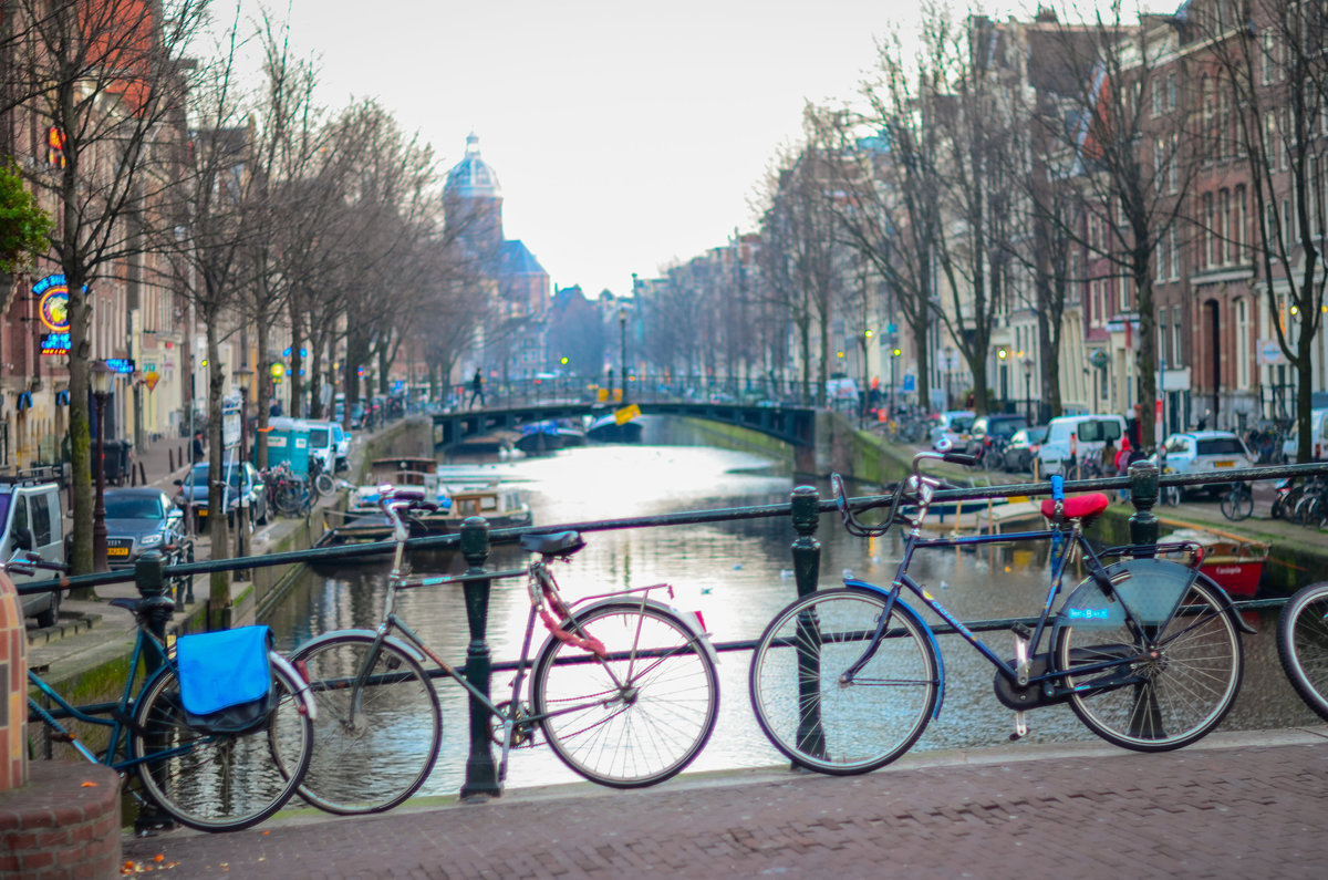 View of bicycles on Canal bridge in Amsterdam, netherlands