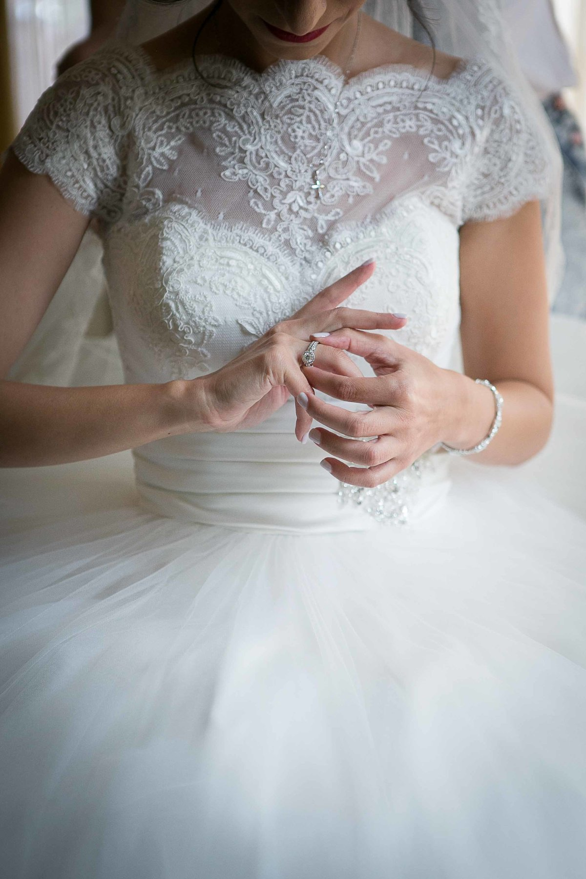Bride holding Diamond Ring