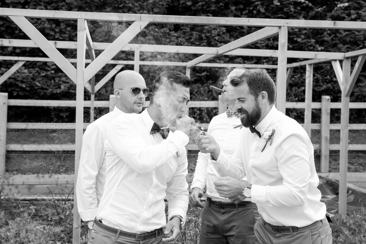cigars at wedding in devon