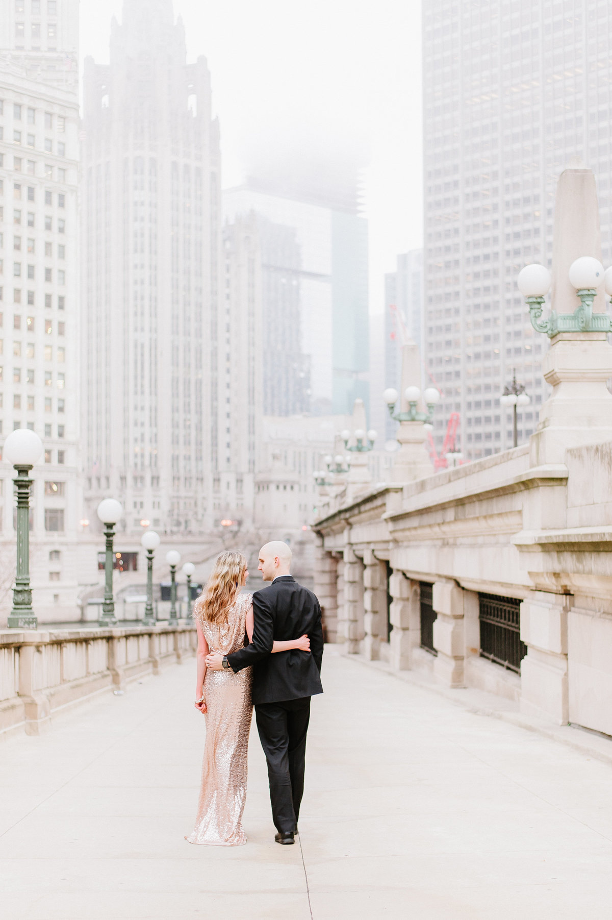 downtown-chicago-classy-photo-shoot-rose-gold-gown-rent-the-runway-photo