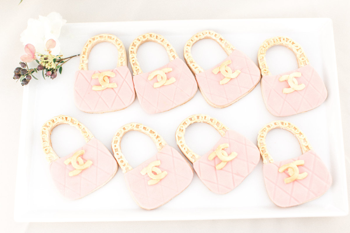 Pink Gold Chanel Purse Cookies