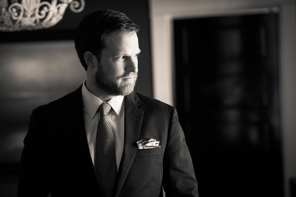 Portrait of groom before the wedding, Charlottesville VA.