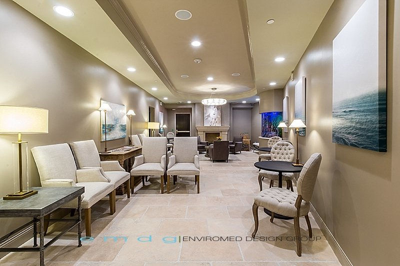 Green Dental Office Design Med Spa Medical Design Reception Waiting Area Fish Tank Fire Place Architect EnviroMed Design Group_0179