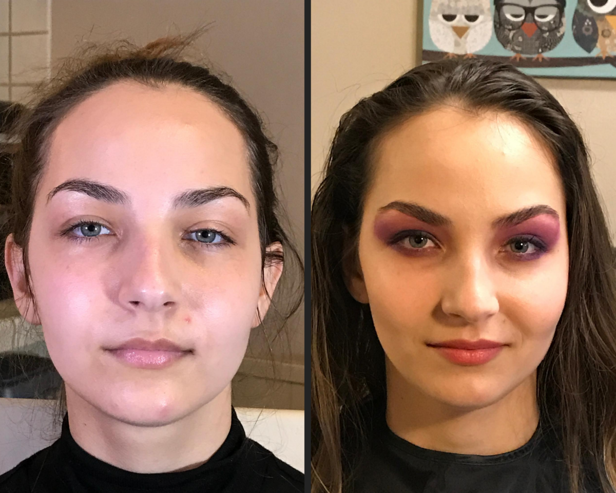 before and after dramatic colorful smokey eye on a brunette with light eyes