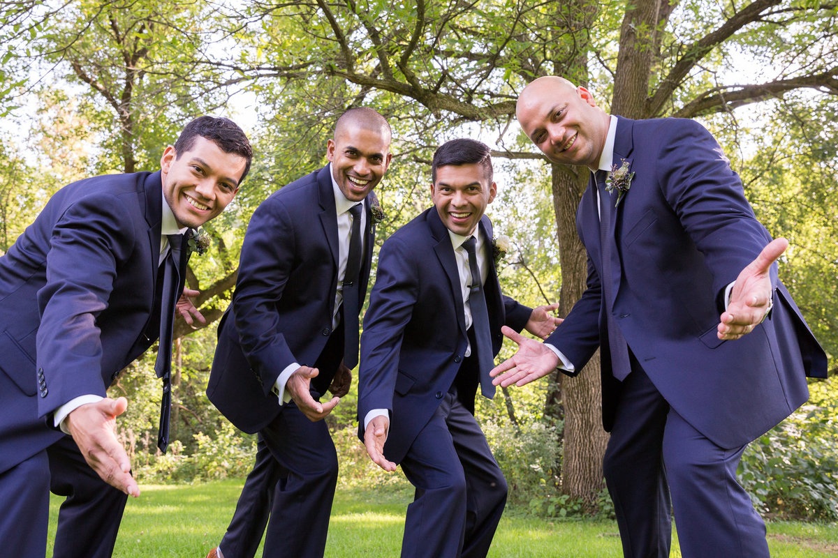 Wedding Photography - Quarry Hill Nature Center of a groom with his groomsmen