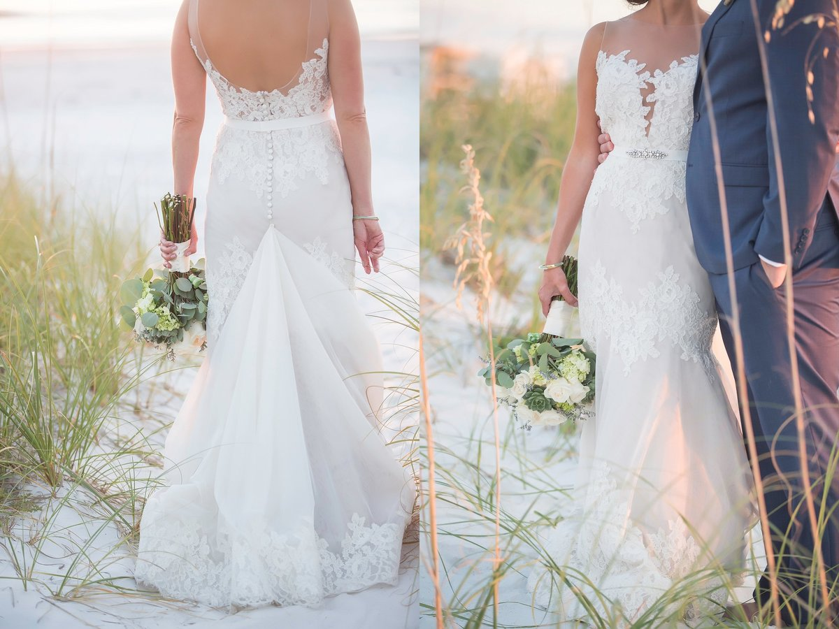 beach wedding bride and groom portraits bridal dress