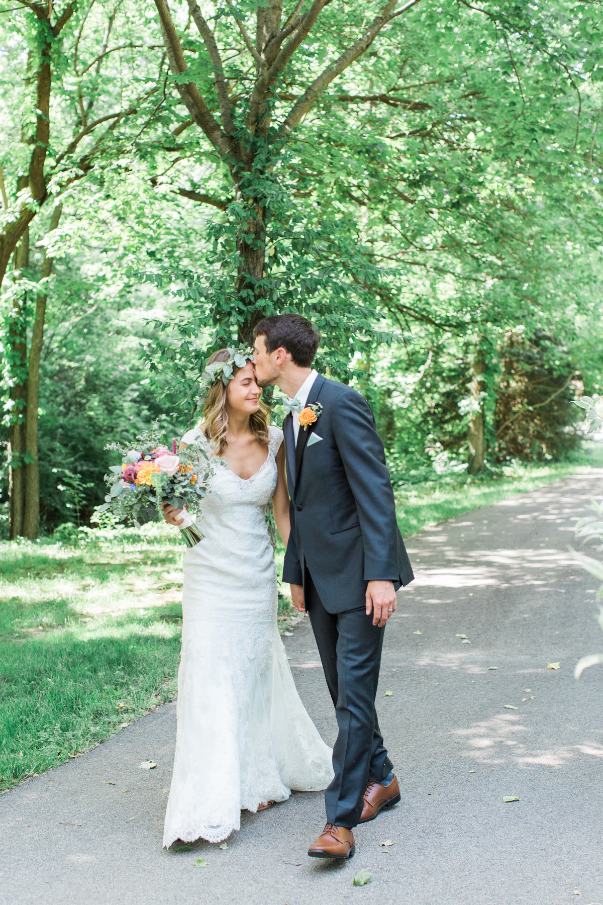 Charley Creek Gardens Wedding Bride and Groom Walking Photo