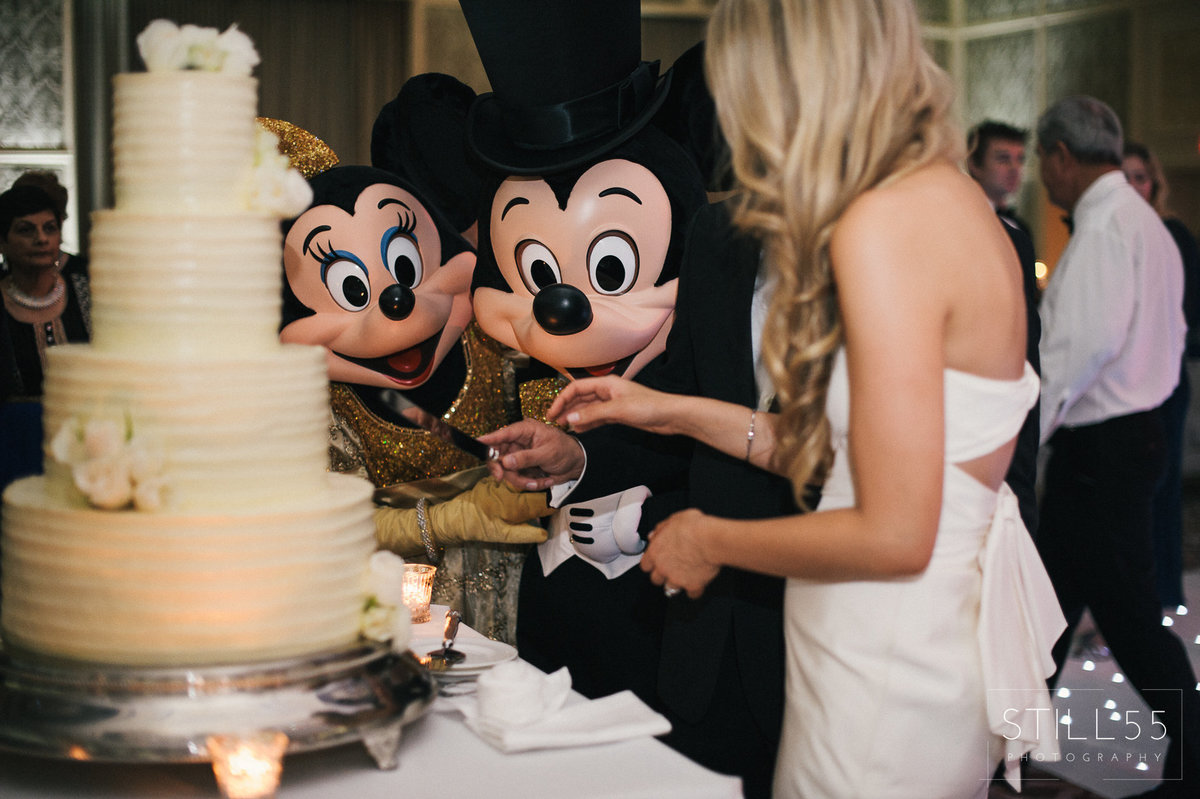 mickey and minnie cut the buttercream white cake