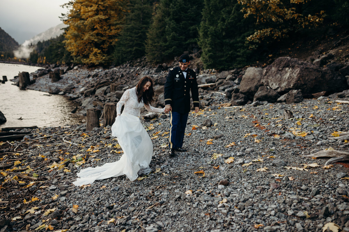 Bride and Groom portrait during their elopement wedding in Lake Crescent, Washington.