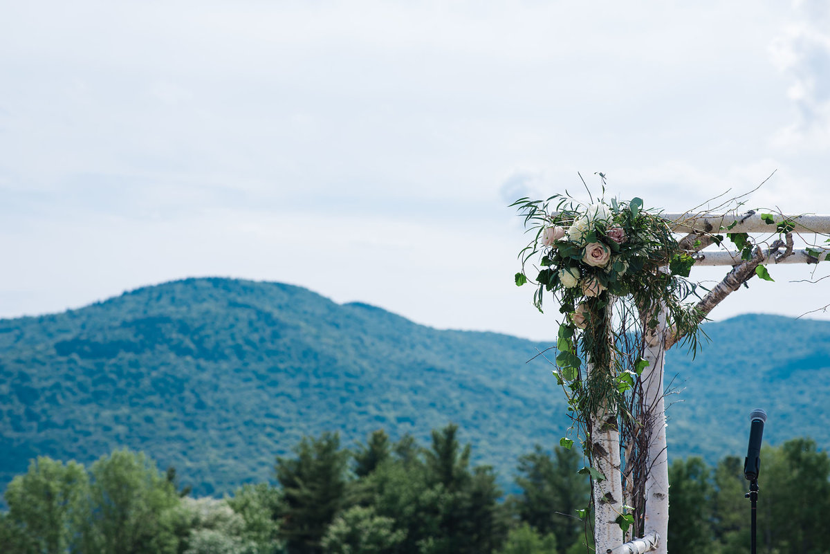 Trapp Family Lodge wedding arch with view