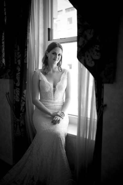 Black and White Bridal Portrait at the Williard DC