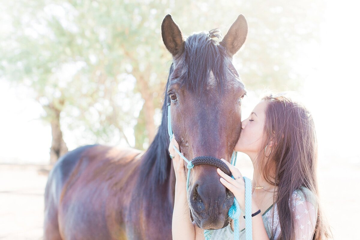 girl kissing her horse on the cheek