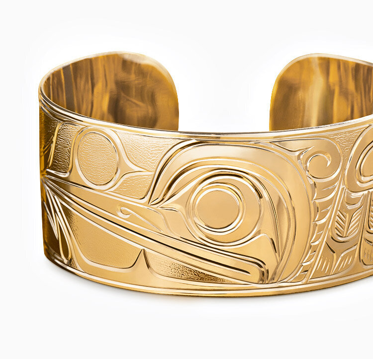 hummingbird native art carved gold bracelet