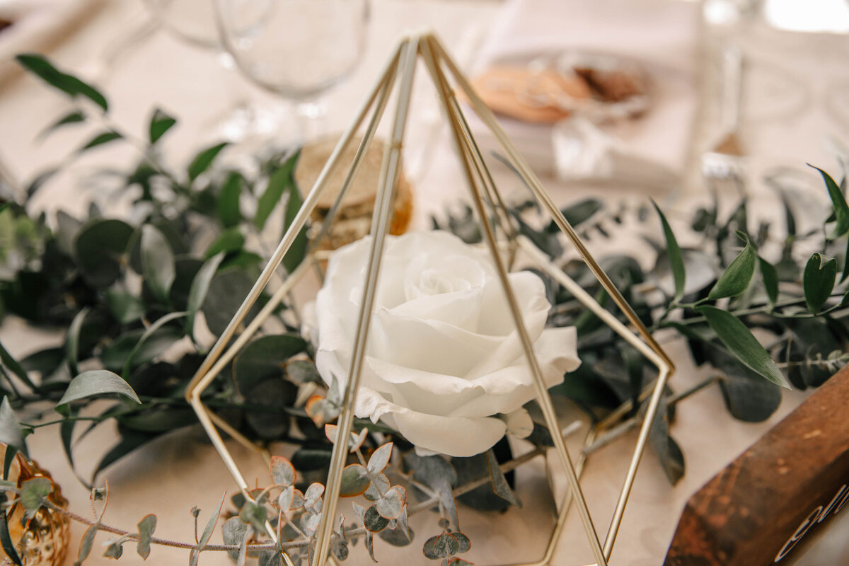 geometric and greenery table arrangement
