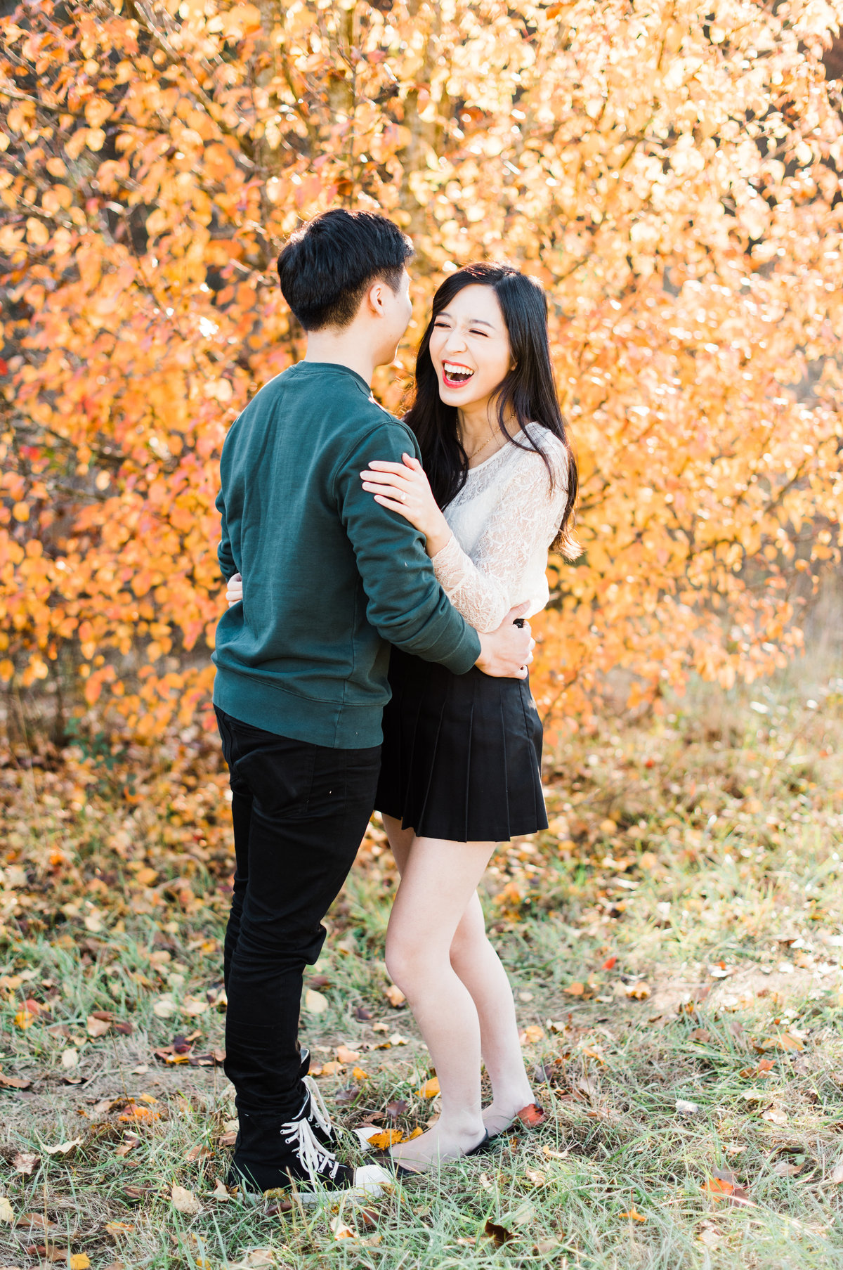 raleigh nc fall engagement photo