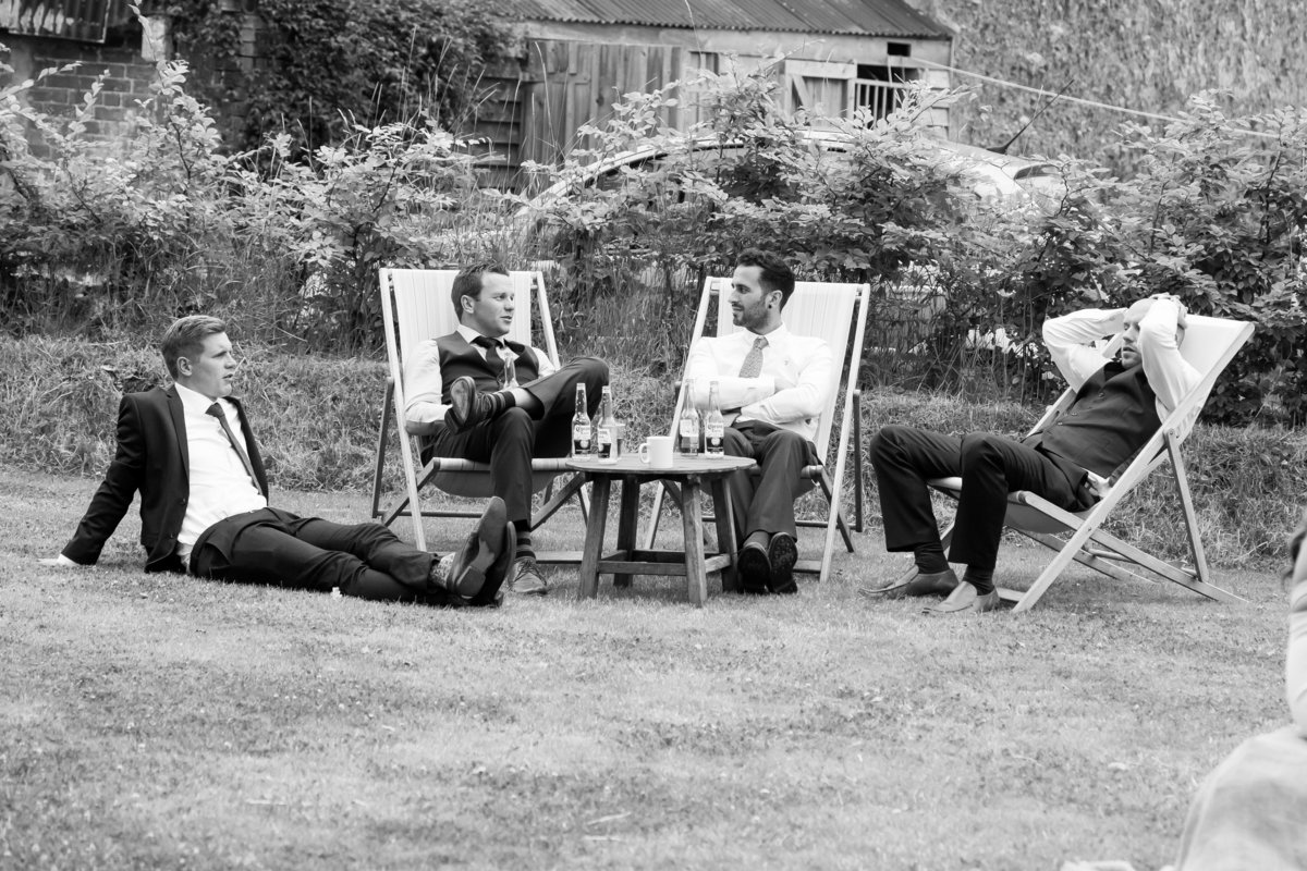 relaxing at the oak barn wedding in devon