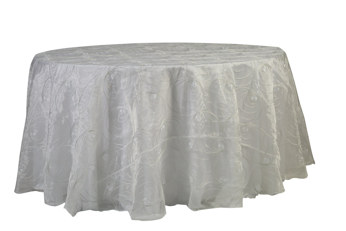 120'' Rd Silver Rings Tablecloth