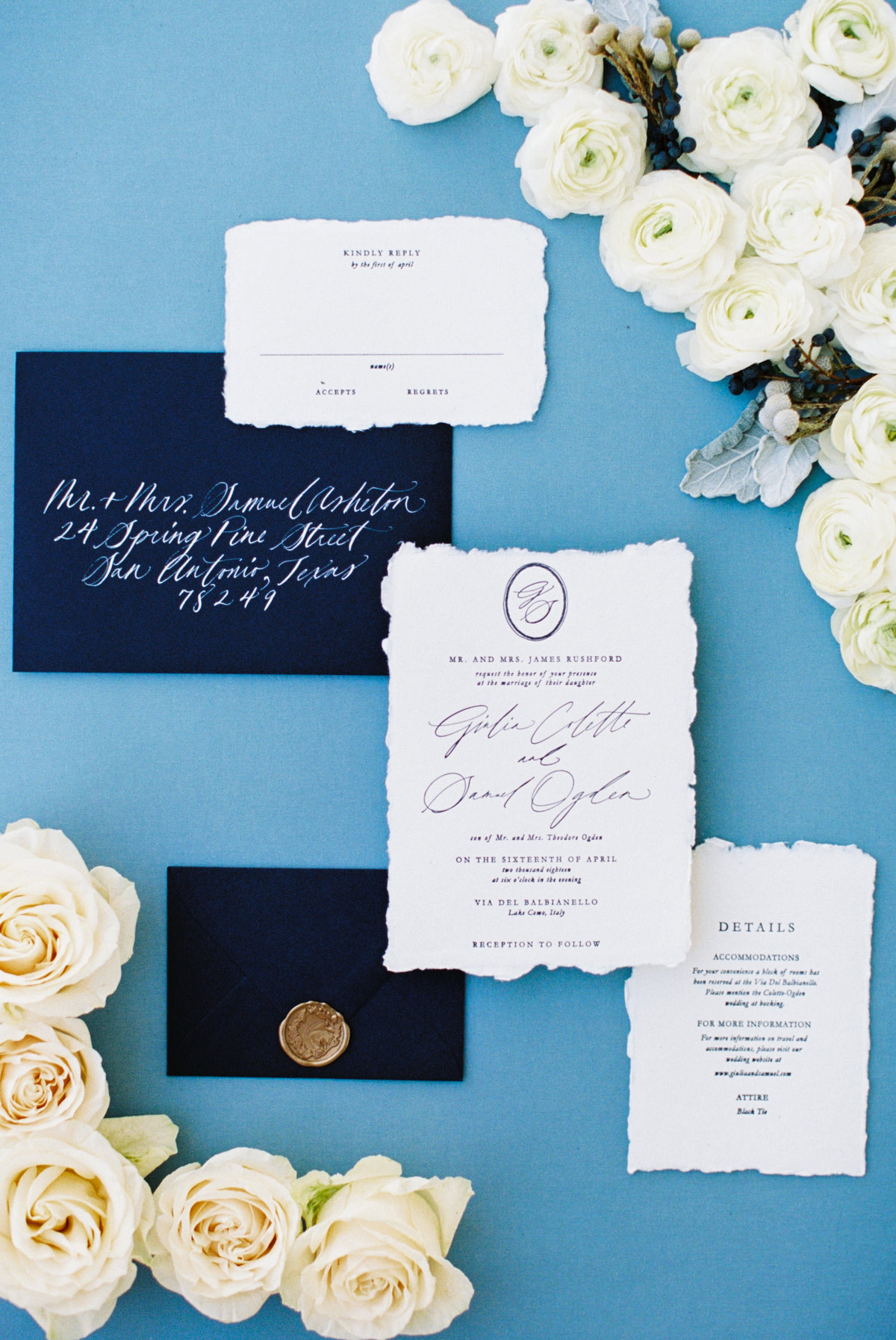 Blue, White, and Greenery wedding invitation suite.