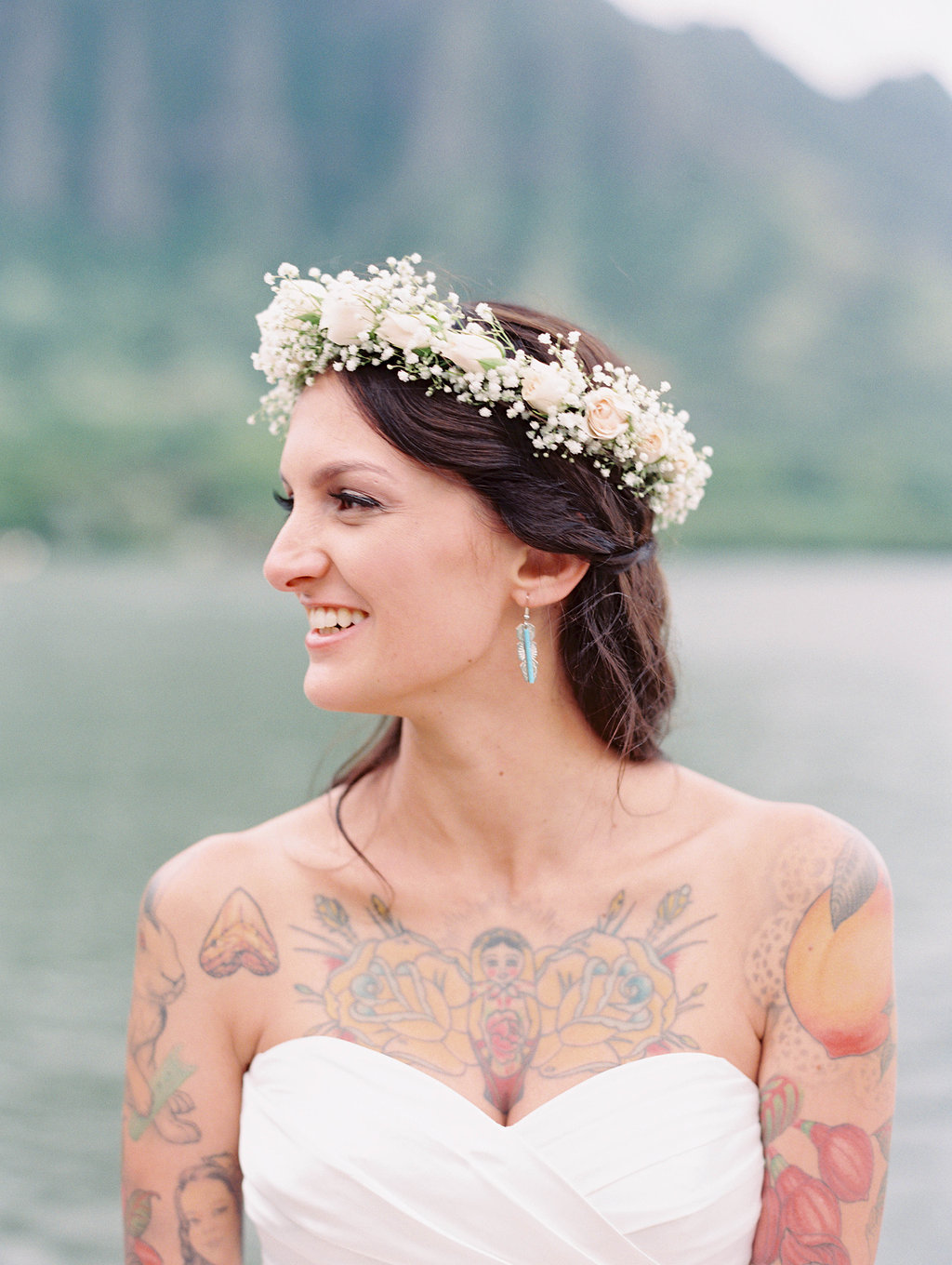 Hawaii Bride With Tattoos and Haku Lei
