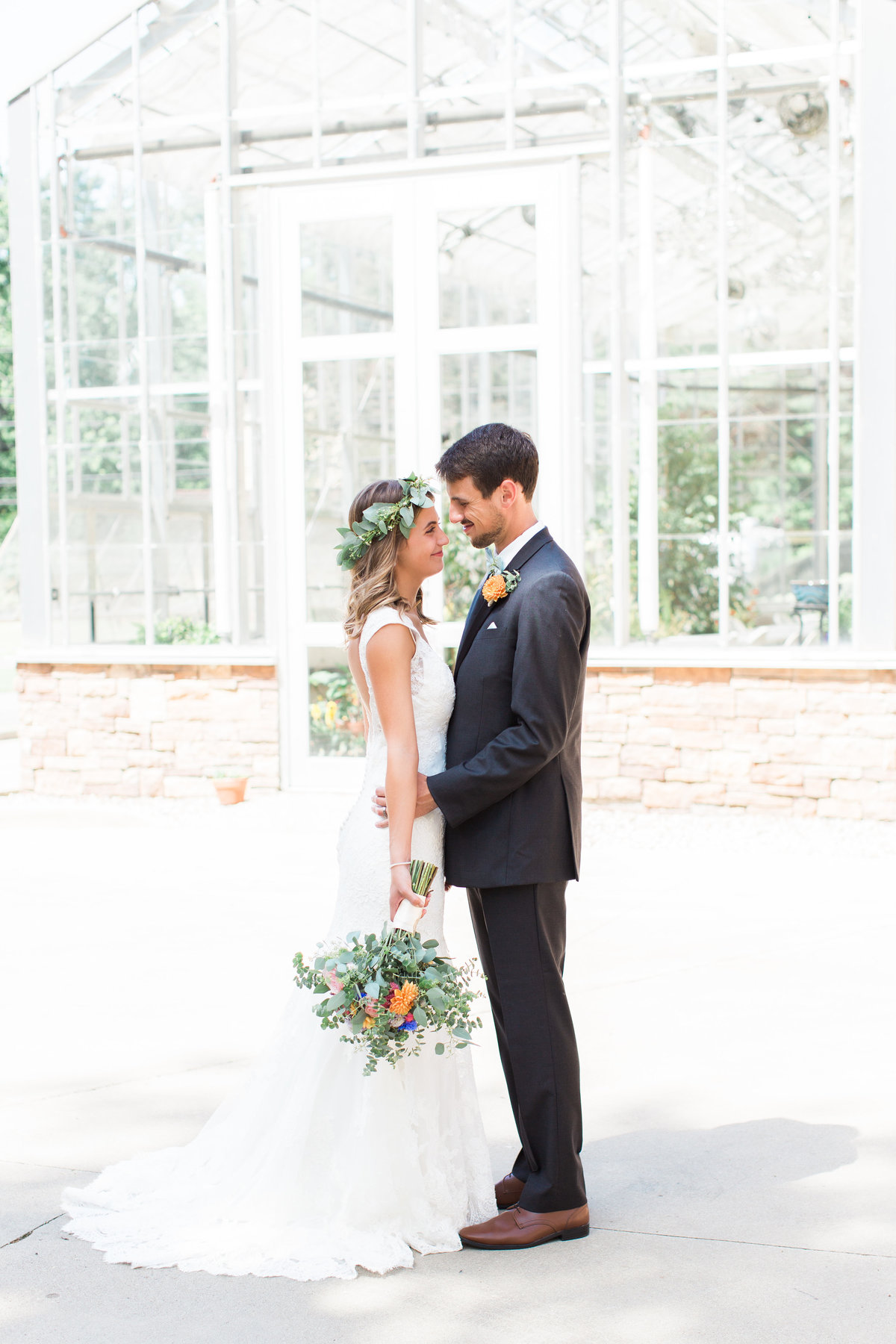 Charley Creek Gardens Wedding Bride and Groom Greenhouse Photo
