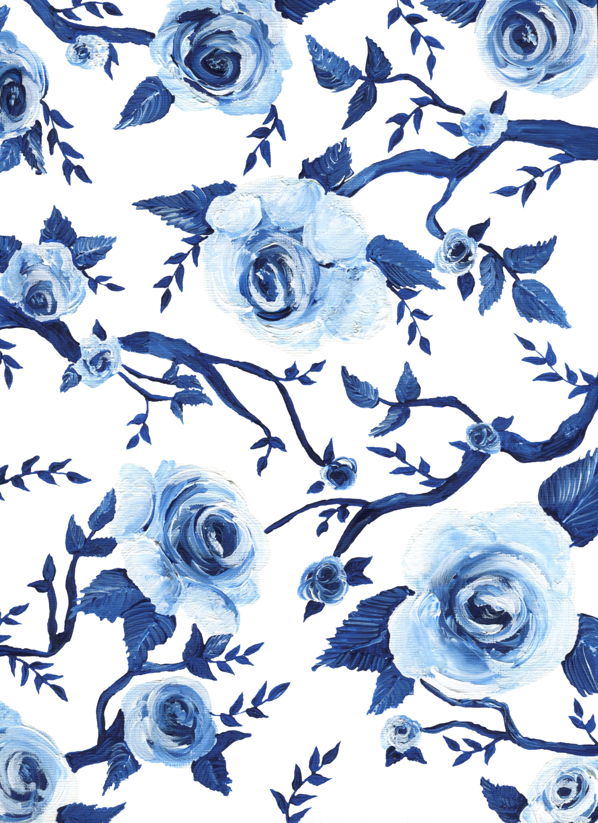 By Brittany Branson blue and white hand painted wedding stationery pattern