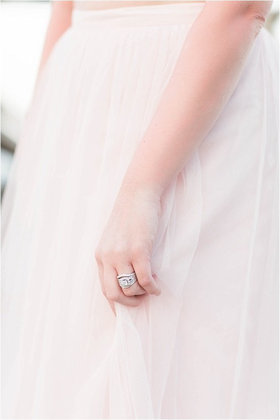 Diamond Halo Engagement Ring and Blush Pink Tulle Skirt