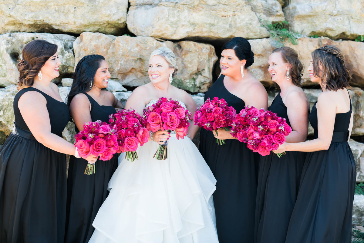 Bridal Party showing off their bouquets