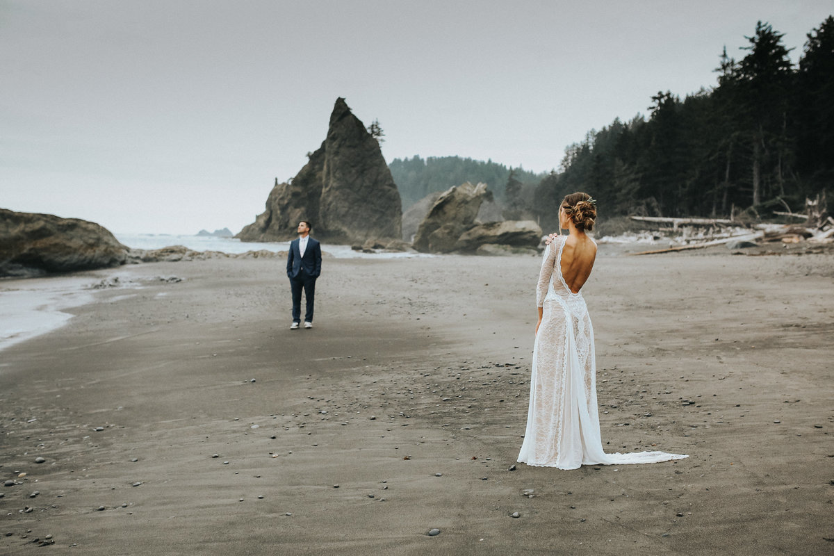 Bride and groom chase seagulls during their elopement wedding at Cannon  Beach on the Washington  Coast.