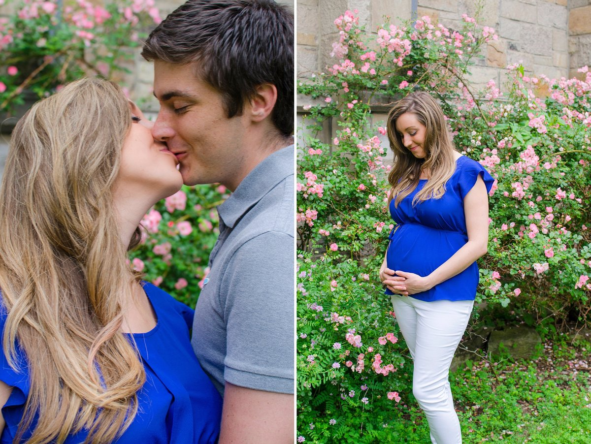 Husband and Wife maternity session with stonewall and pink roses in Washington, Pennsylvania Photo