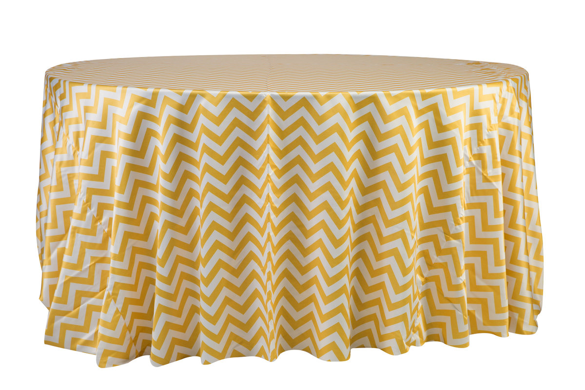 132'' Rd Yellow Chevron Matte Satin Tablecloth