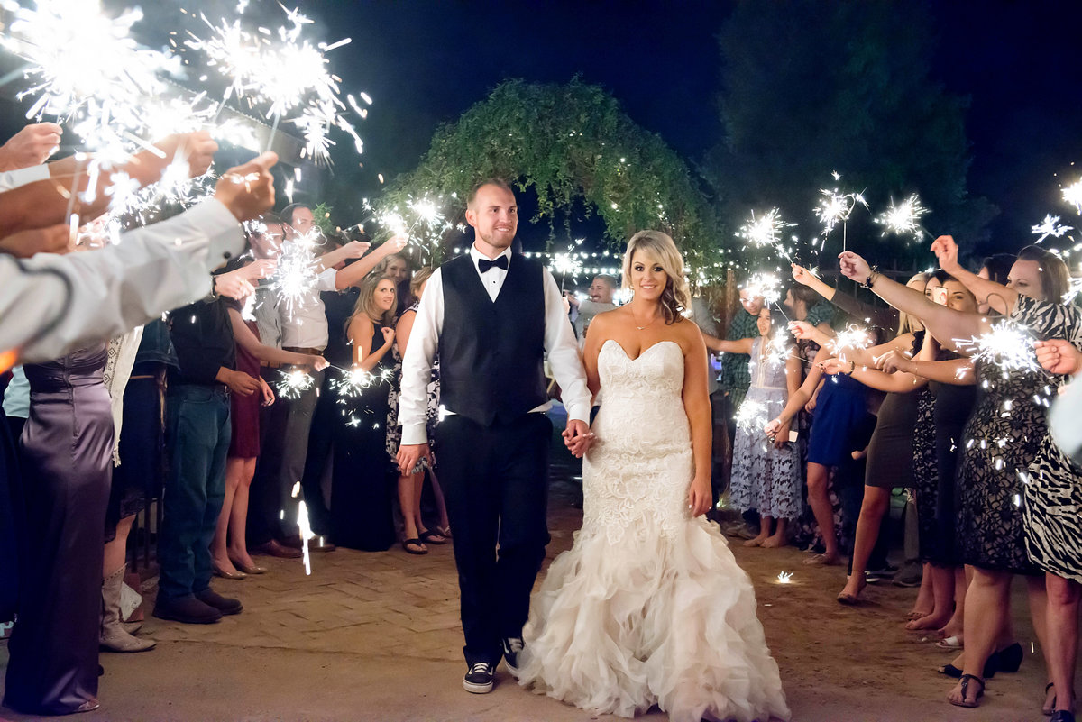 wedding sparkler exit at from the farm in yuma az