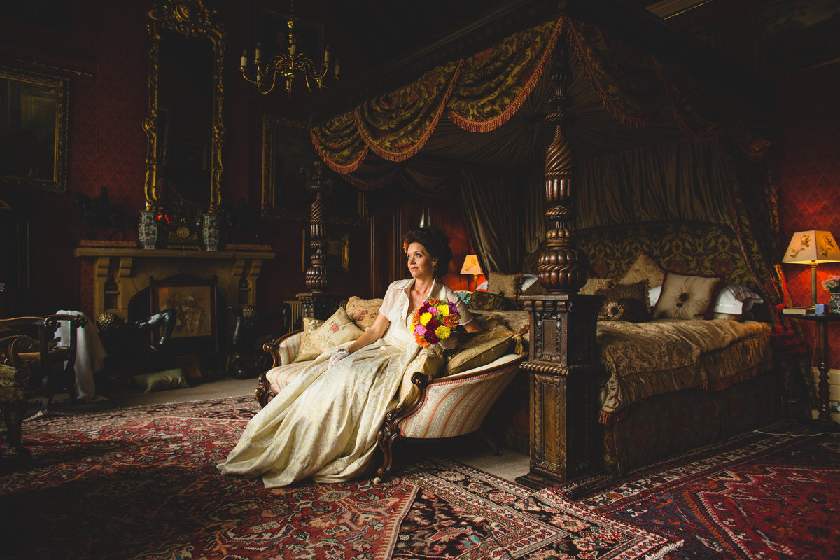 bride in the grand bedroom at maunsel house