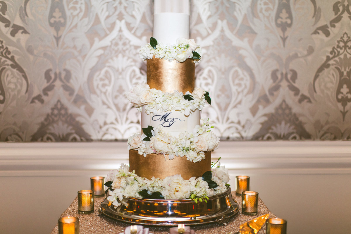 White and Gold Cake with Flowers and Monogram