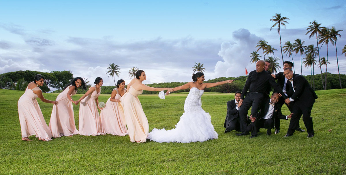 Fun, posed image of entire wedding party. Photo by Ross Photography, Trinidad, W.I..