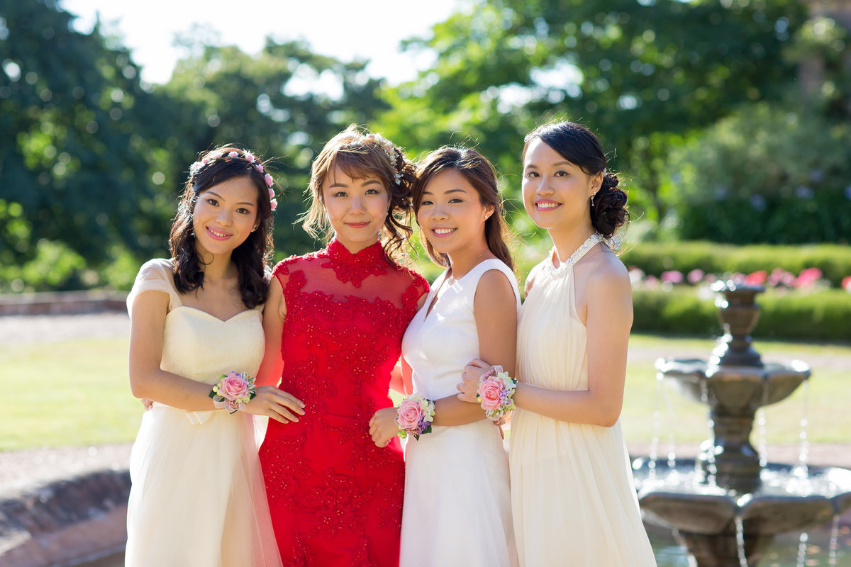 bride and bridesmaids at st audries park wedding photographer somerset