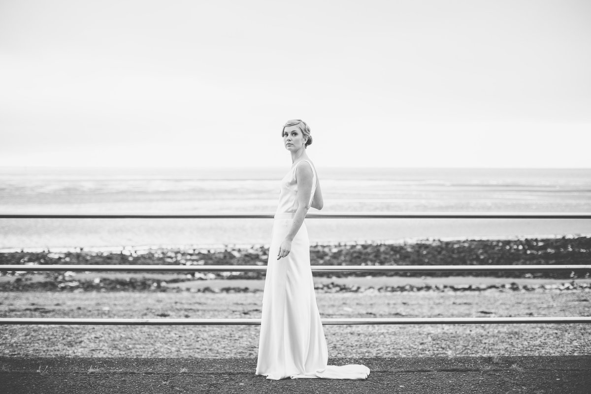 bride by beach classic fashion wedding